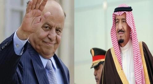 صورة الرئيس اليمني يناشد الملك سلمان بعقد اجتماع خليجي تحضره كافة الأطياف السياسية اليمنية